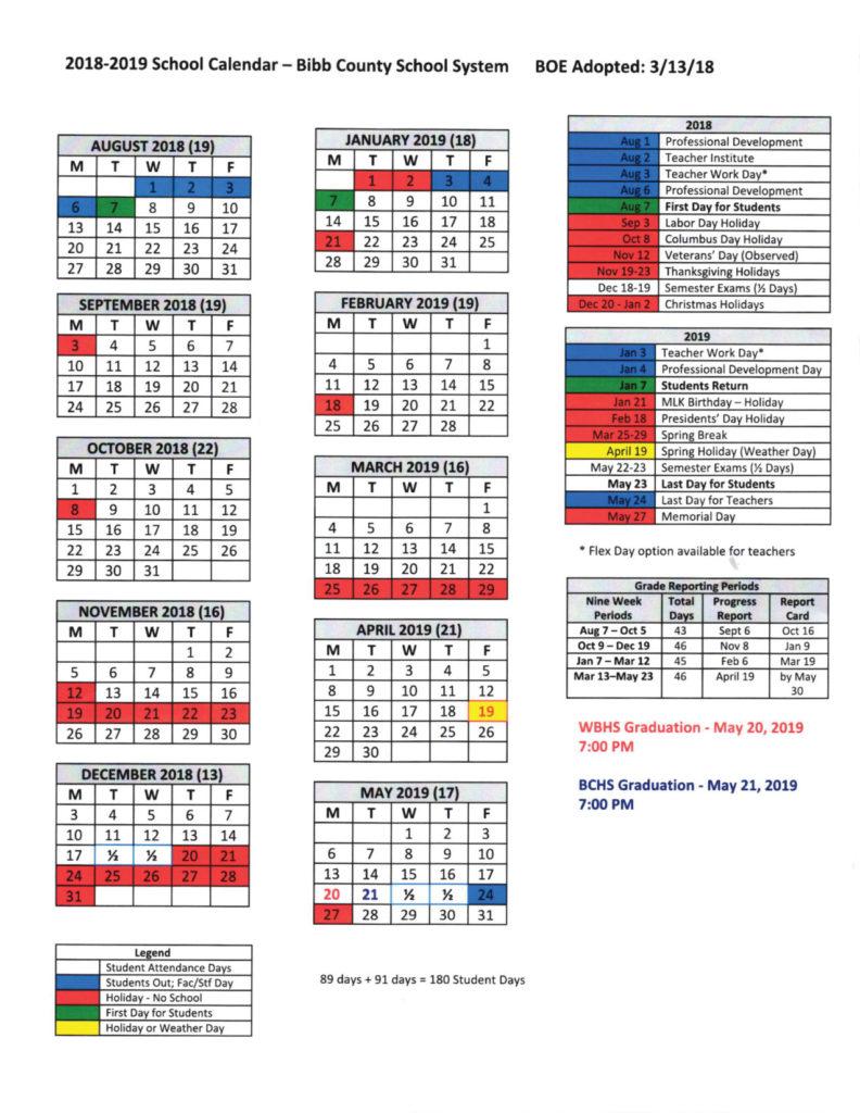 Bibb County School Calendar 2020 School Calendar 2018 2019   The Bibb Voice