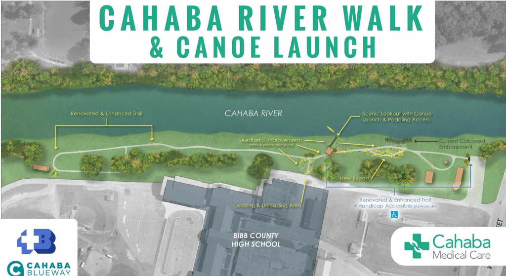Map of new project plan for canoe launch and improvements at Centreville's Cahaba River Walk Park