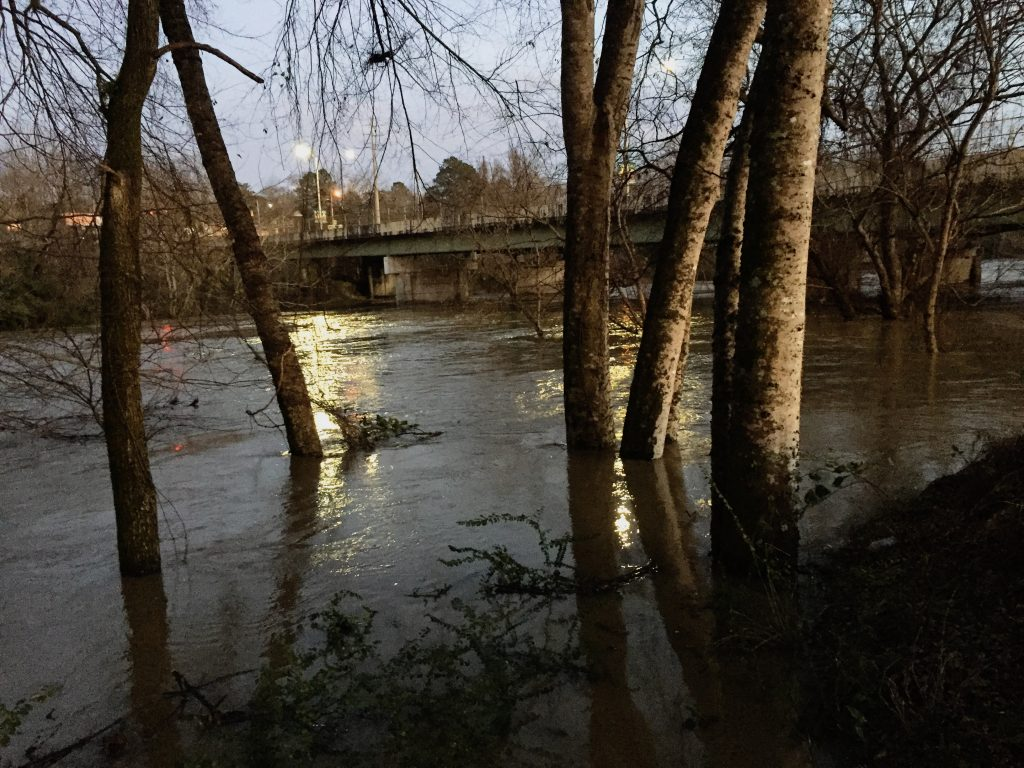 The Cahaba during the peak of the flood, just before sunset on December 28, 2018.