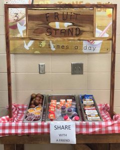 "The ""Share Table"" at Woodstock Elementary was custom built by a teacher's husband to make it more fun for the kids to use. (Photo credit Woodstock Elementary CNP on Facebook.)"