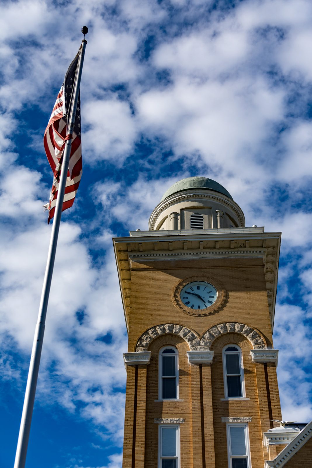 The clock tower of the Bibb County Courthouse.