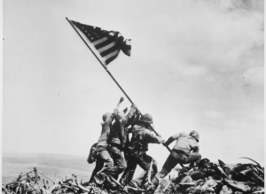 One of the most famous images of WWII, of Marines erecting the American flag after victory in Iwo Jima, is immortalized as the Marine Corps War Memorial in Arlington, Virginia.