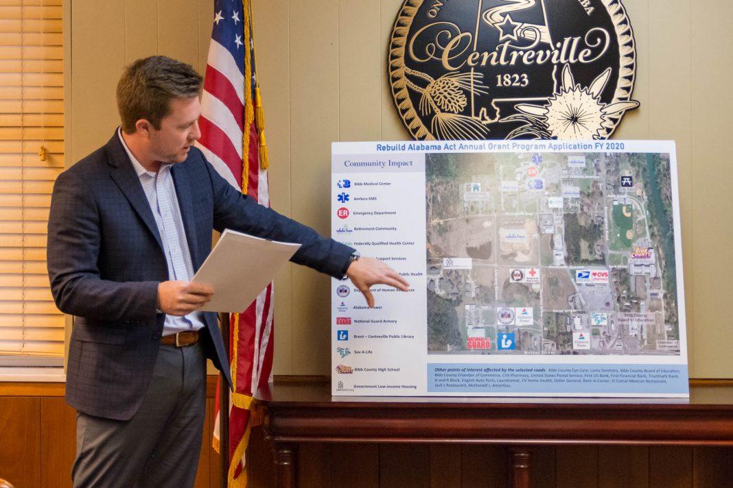Bibb Medical Center CEO Joseph Marchant presents a grant proposal to the Centreville City Council.