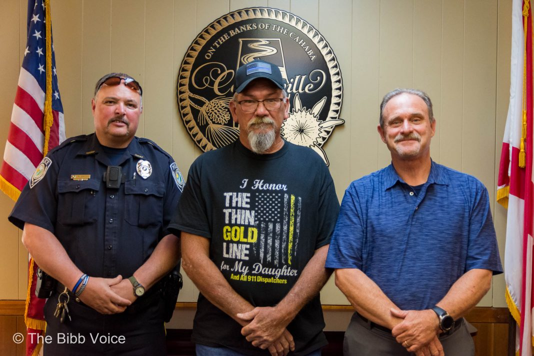 The City of Centreville recognized Officer Crocker's years of service as he enters retirement. (L-R: Centreille Police Chief Rodney Smith, Retired Officer Clyde Crocker, Mayor Terry Morton.)